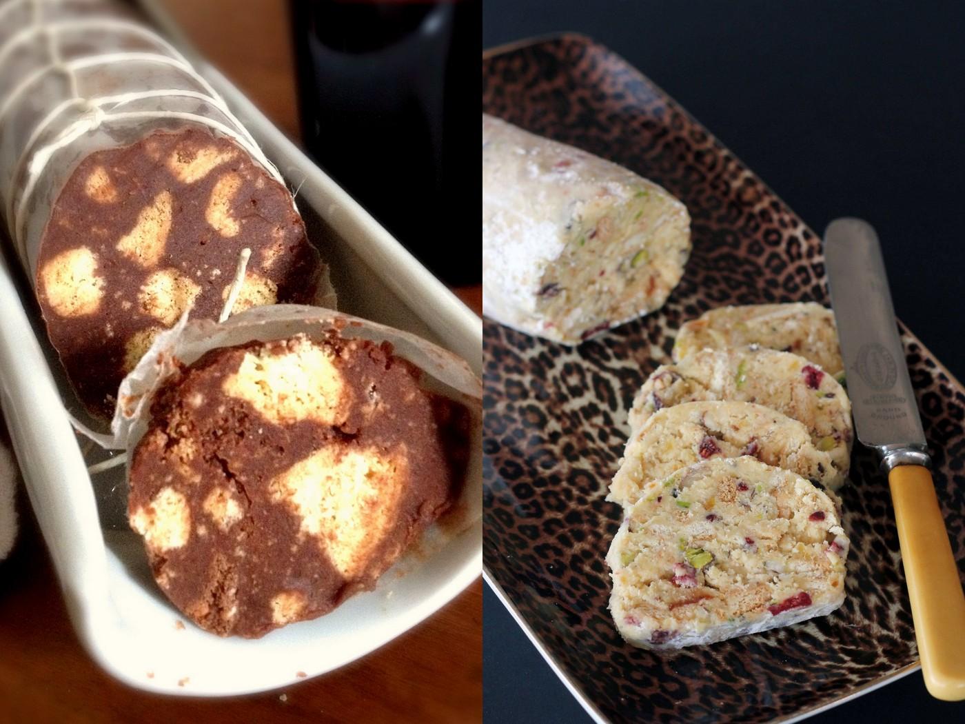 salame di cioccolato bianco o nero